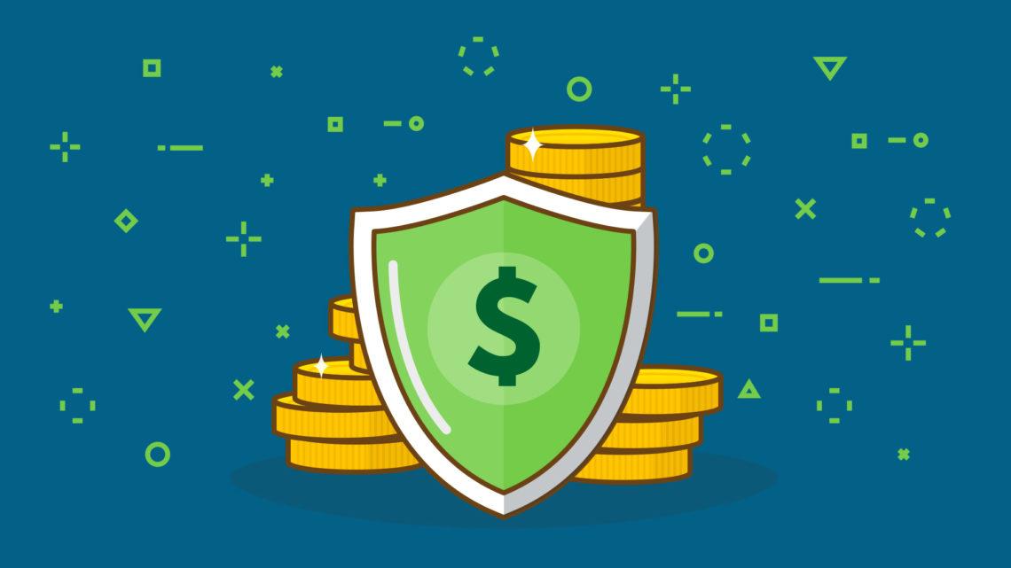 Imagem com um escudo protegendo uma pilha de moedas