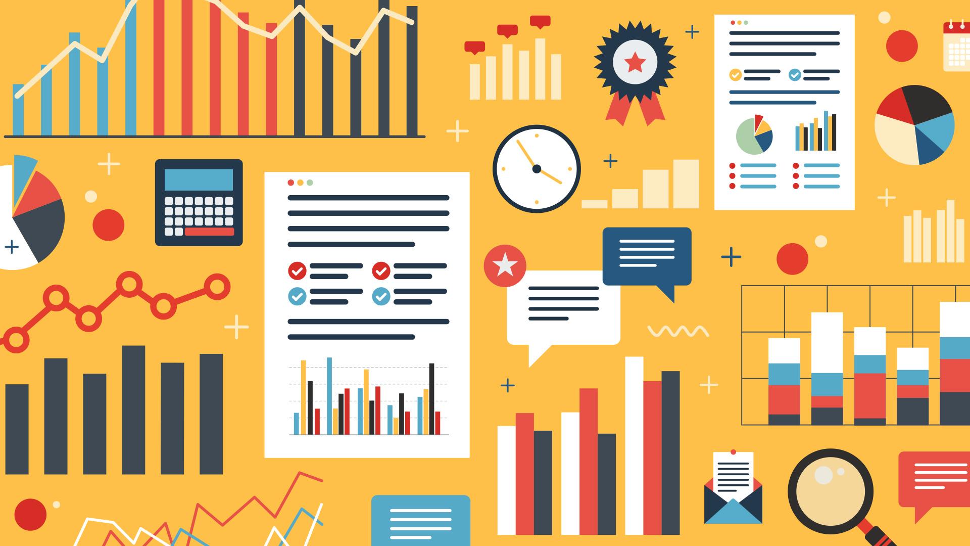 Ilustração com gráficos de barra, gráfico de pizza, documentos, lupa e ícones de mensagem