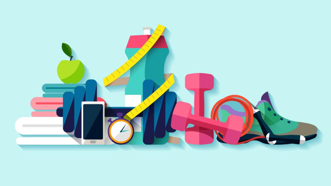 Ilustração com diversos objetos voltados ao treino de exercício físico, como tênis, peso, fita métrica, toalha, relógio, corda