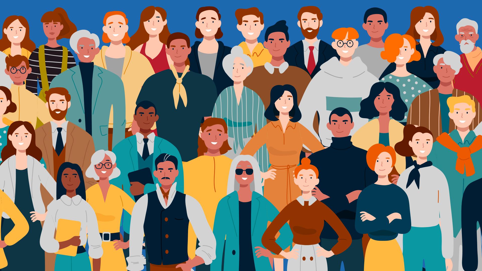 Ilustração de pessoas de diversos gêneros e raças.