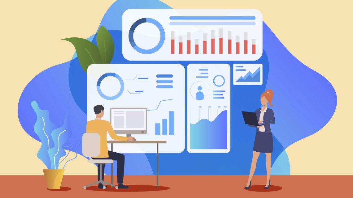 Ilustração de um homem e uma mulher analisando dados e gráficos.