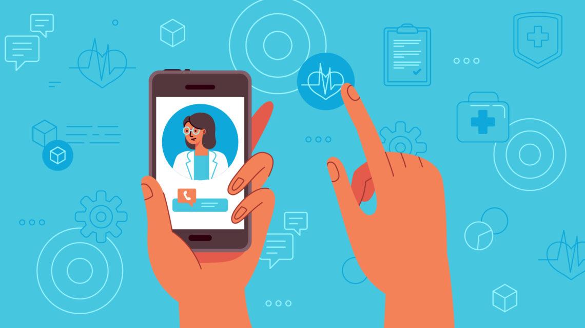 Ilustração de uma pessoa usando o smartphone para fazer uma consulta médica.